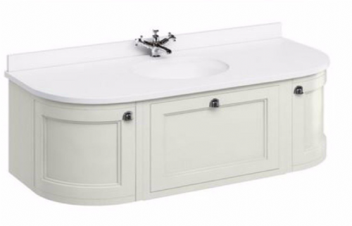 Burlington Wall Hung Sand 134 Curved Vanity Unit With Drawers & Doors Fw4S - Worktop Options